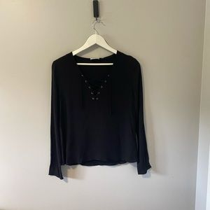 Black Wilfred Free Lace Up Front Long Sleeve